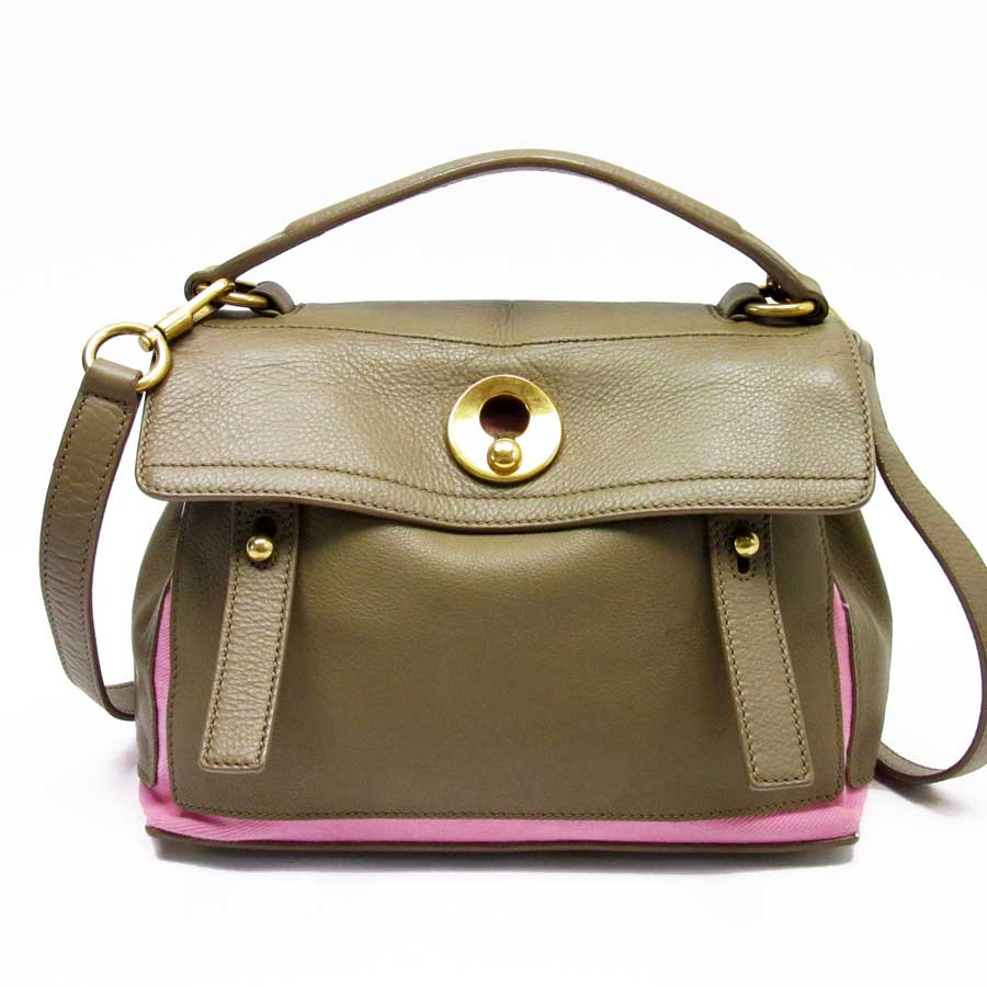 Auth YVES SAINT LAURENT Muse Two 2-Way Handbag Shoulder Bag Brown ... adb5959dea153