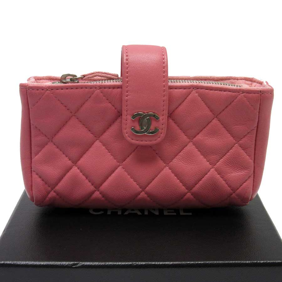 dbf4338ab29f Auth CHANEL CC Logo Matelasse Card case Coin Purse Pink Leather ...