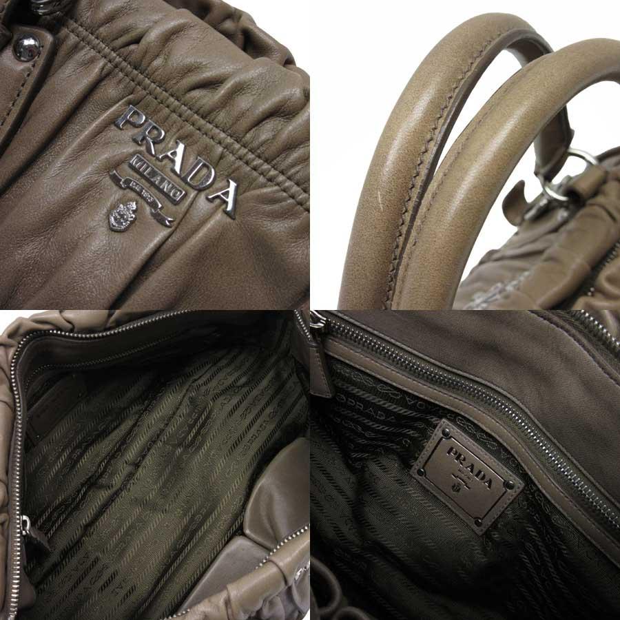 b245ceca89b2a7 ... inexpensive 2 of 12 auth prada nappa gaufre f 2 way handbag shoulder bag  visone sfuma