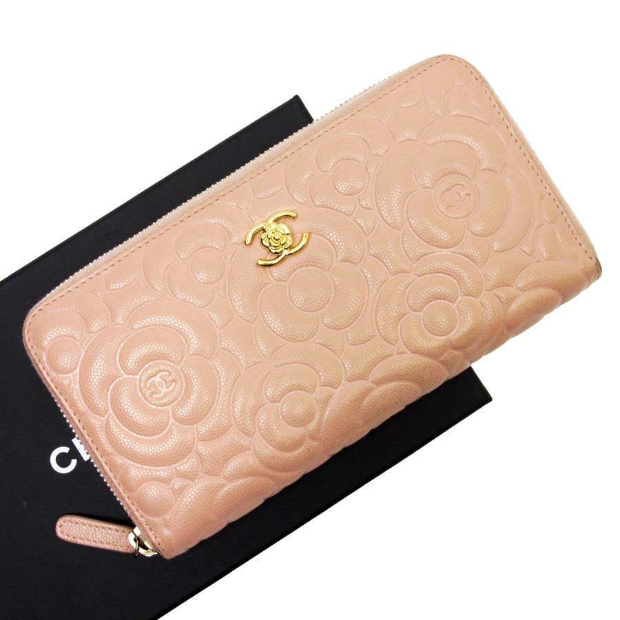 bb545a7ad9f72a Auth CHANEL Camellia Embossed Zip Around Long Wallet Light Pink *USED* -  h20568