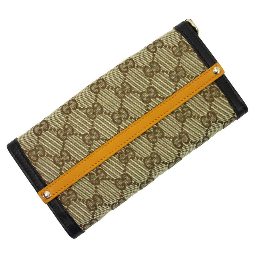 95926ba6e678 Auth GUCCI GG Canvas Bifold Long Wallet Beige/Orange/Black Canvas ...