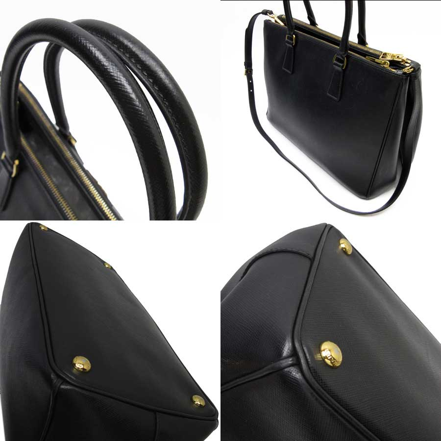 98a9b5e56e7ea8 Auth PRADA SAFFIANO LUX 2-Way Handbag Shoulder Bag NERO (Black ...
