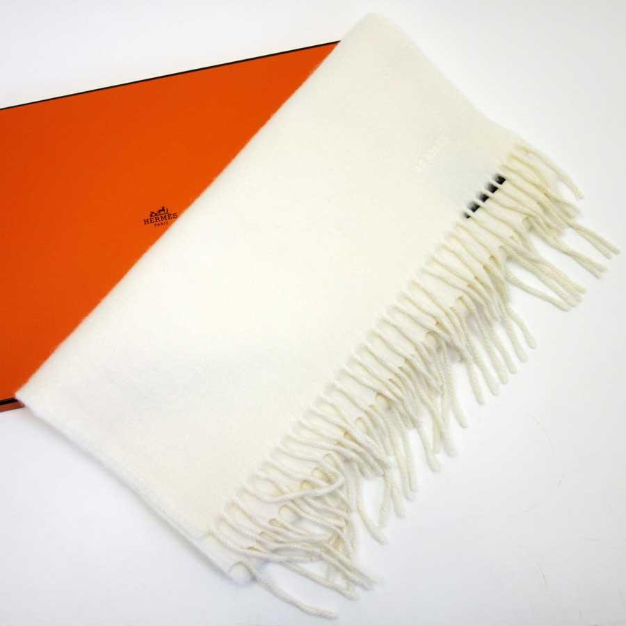 01ca14f22c926 Auth HERMES Logo Muffler Scarf Off White 100% Cashmere - h21319 | eBay