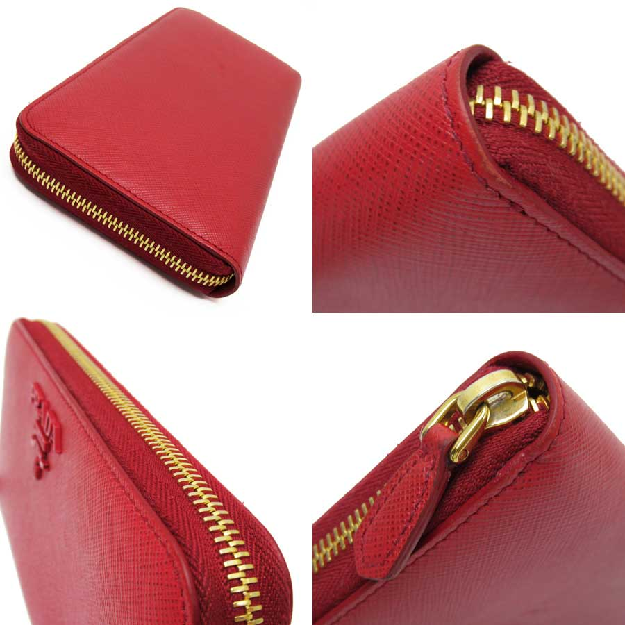 Auth-PRADA-Logo-Zip-Around-Long-Wallet-Red-Saffiano-Leather-Goldtone-h21946 thumbnail 2
