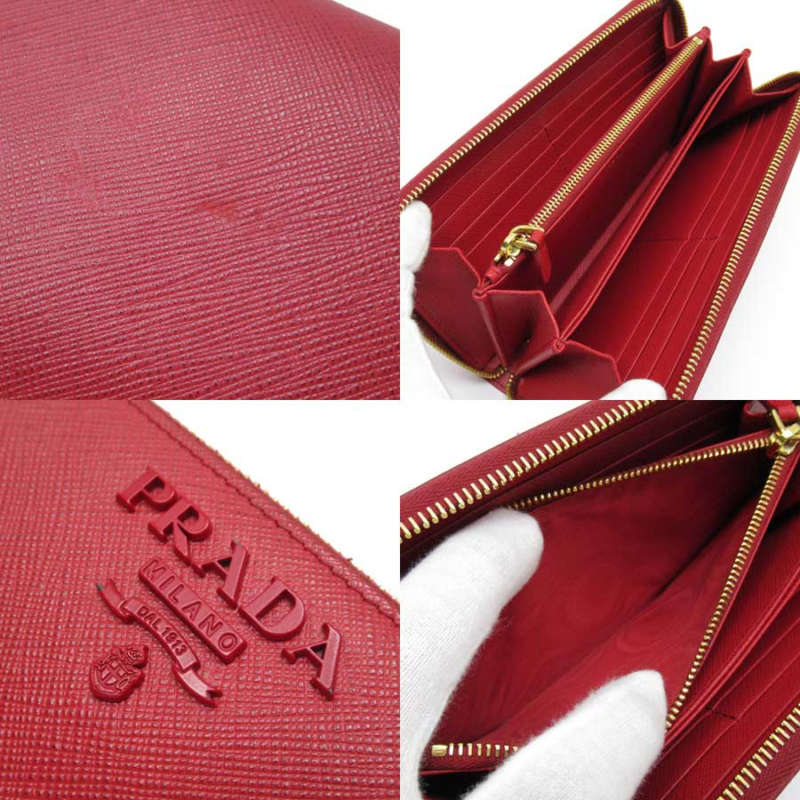 Auth-PRADA-Logo-Zip-Around-Long-Wallet-Red-Saffiano-Leather-Goldtone-h21946 thumbnail 3