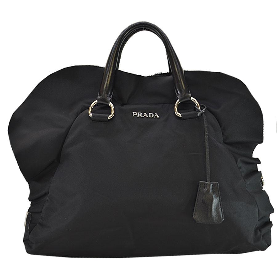 a592375c8675e2 Auth PRADA Logo Large Handbag Travel Bag Black Nylon/Leather - r6419 ...