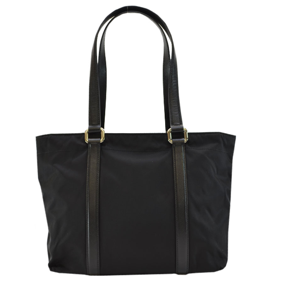 b5b37fa00b47ac Auth PRADA Tessuto Saffian Shoulder Bag Tote Bag Black Nylon/Leather ...