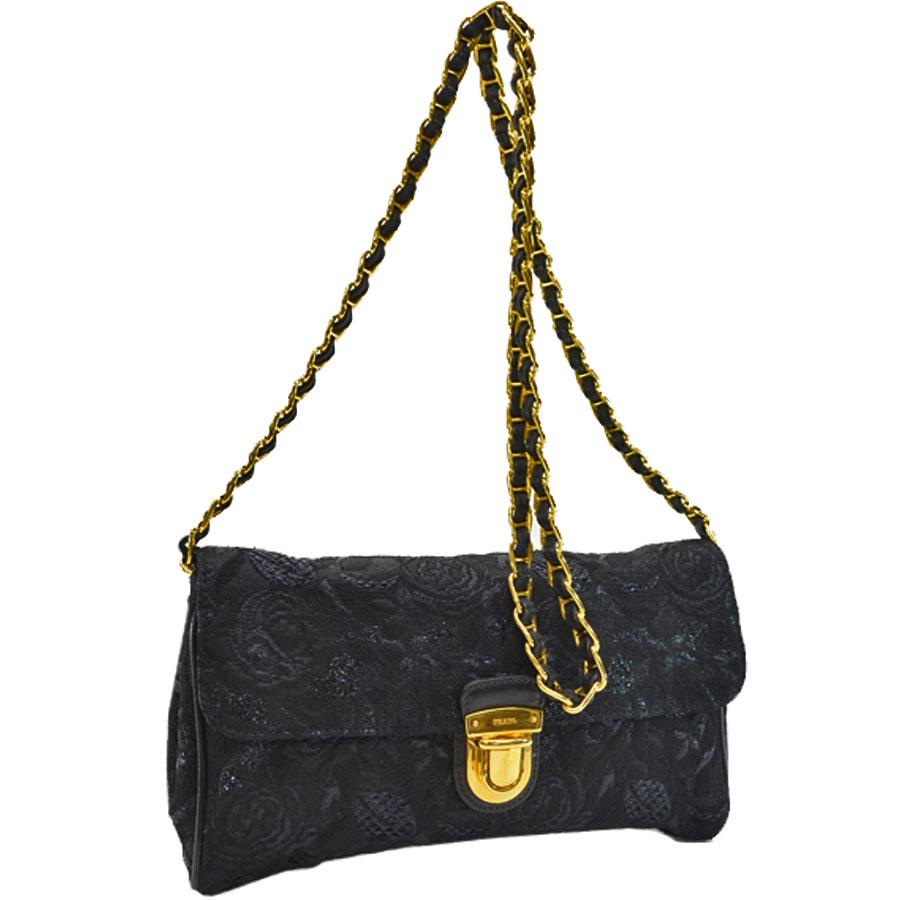 ce1947f546 Auth PRADA Clutch Bag Crossbody Shoulder Bag NERO (Black) TESSUTO ...