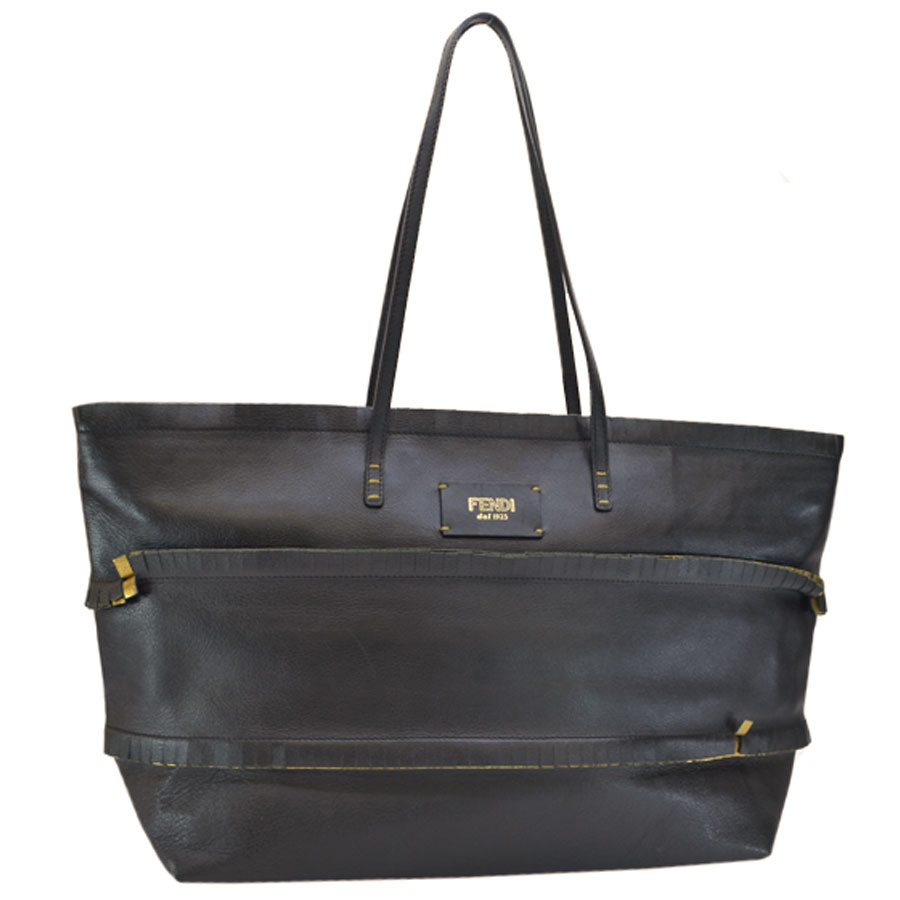 f20b40ada9 Details about Auth FENDI Roll Tote Shoulder Bag Black/Gold Leather  8BH185-DQ9 - r7073