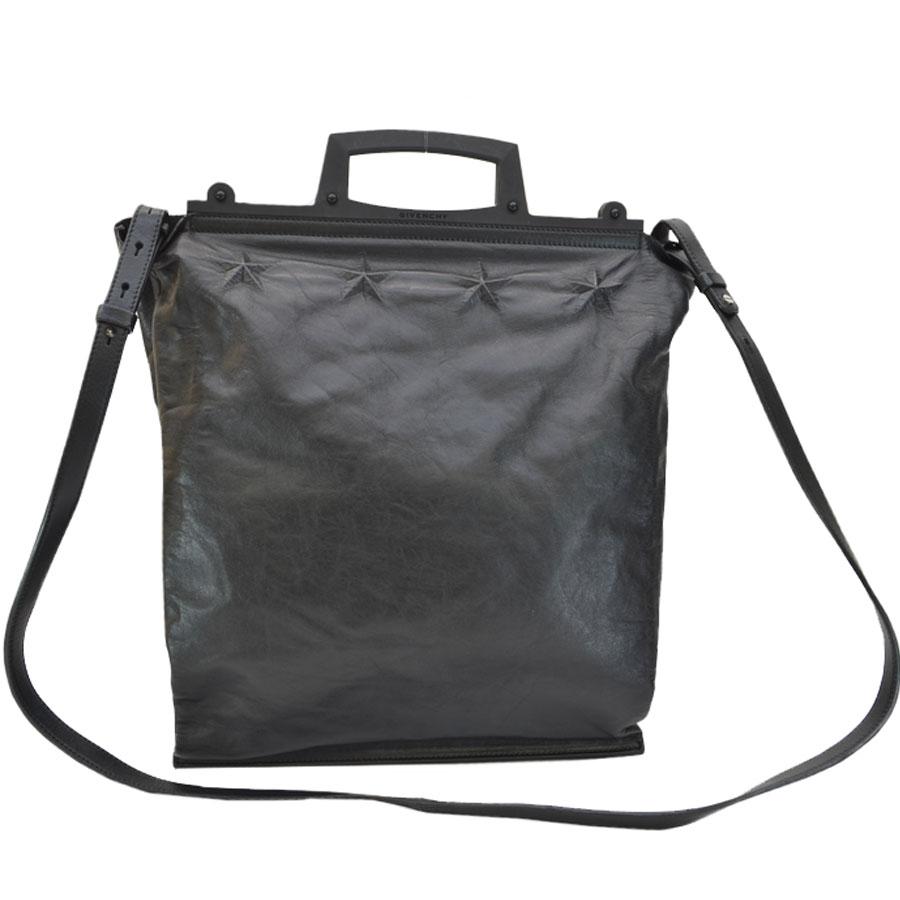 Auth-GIVENCHY-Star-Embossed-Leather-Tote-Handbag-Shoulder-Bag-Black-r7112