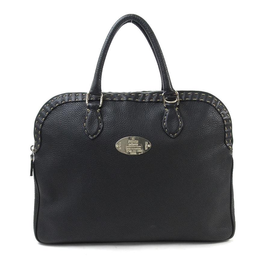 Auth FENDI Selleria 2-Way Handbag Shoulder Bag Black Leather ... bbbb94958b78