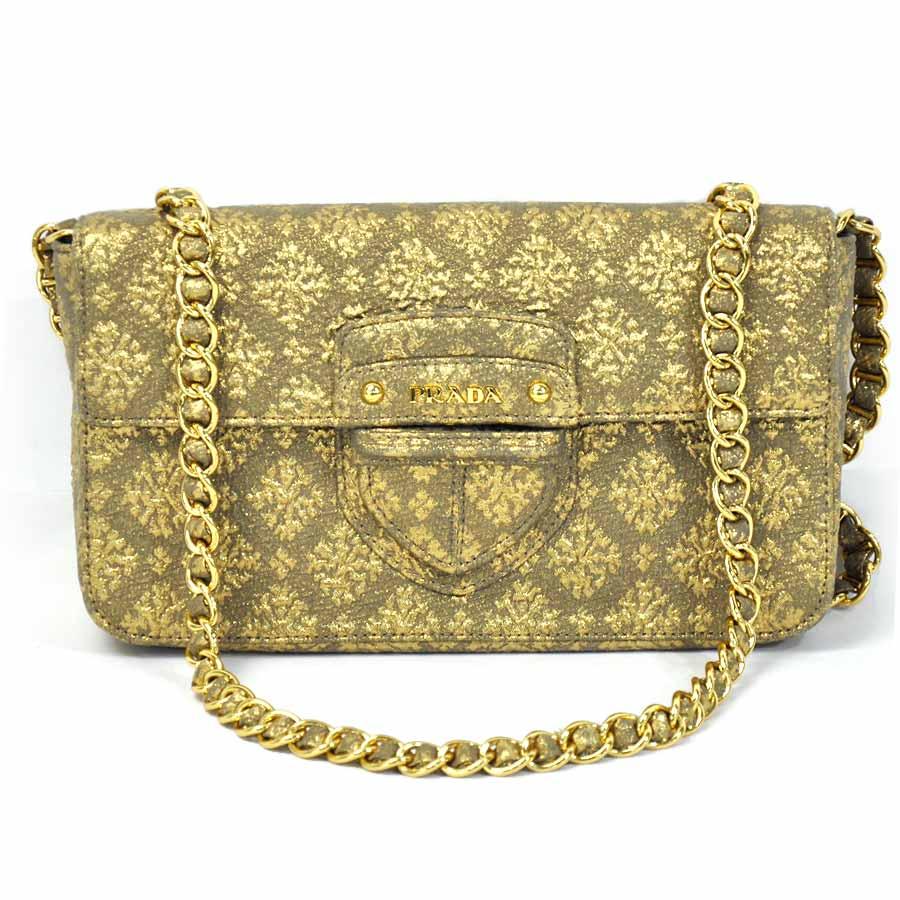7f1c4f624752 Auth PRADA Triangle Logo Plate Clutch Bag Shoulder Bag Nylon/Goldtone -  x2154