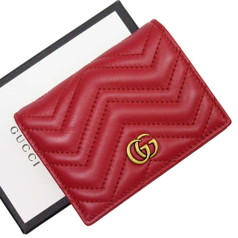 54bc6c270121 Auth GUCCI GG Marmont Card Case Bifold Wallet Red/Gold Leather ...