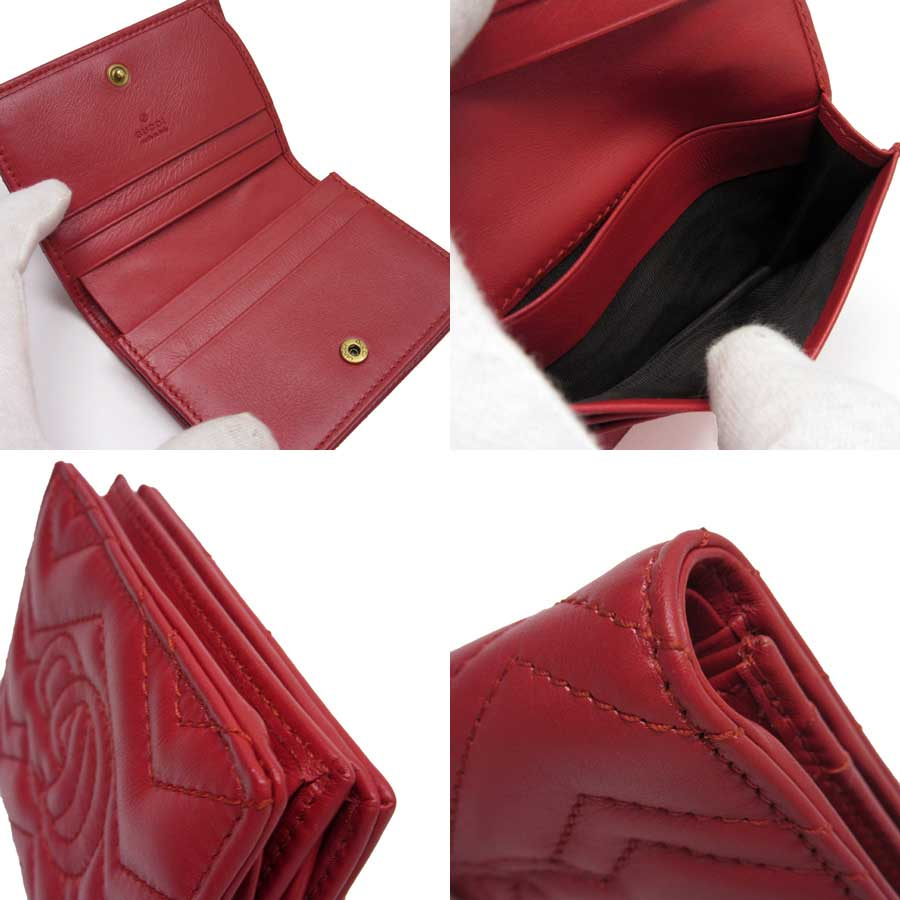 38a72c15301 Auth GUCCI GG Marmont Card Case Bifold Wallet Red Gold Leather ...