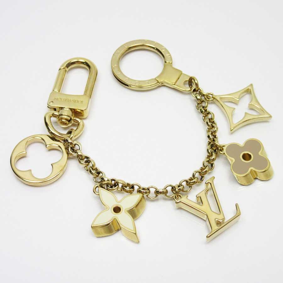 Auth-Louis-Vuitton-Fleur-de-Monogram-Bag-Charm-Goldtone-Enamel-M65111-x2475