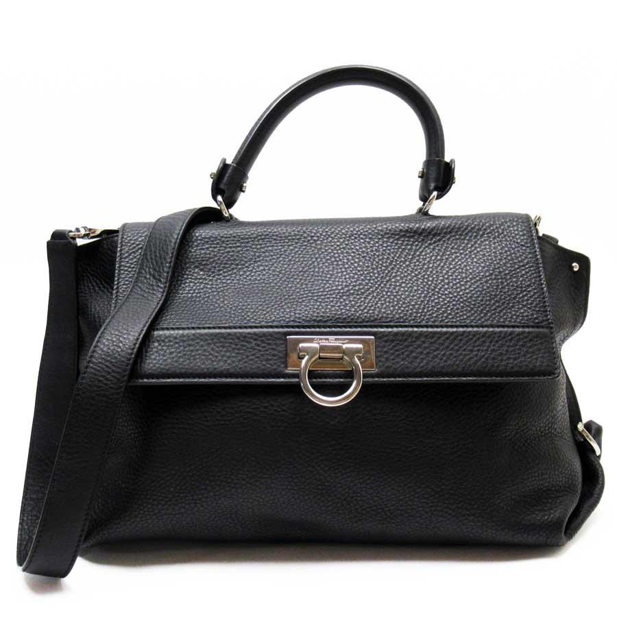 Auth Salvatore Ferragamo Sofia Gancini 2-Way Handbag Shoulder Bag Black - x3336