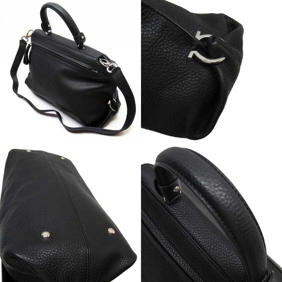 thumbnail 2 - Auth Salvatore Ferragamo Sofia Gancini 2-Way Handbag Shoulder Bag Black - x3336