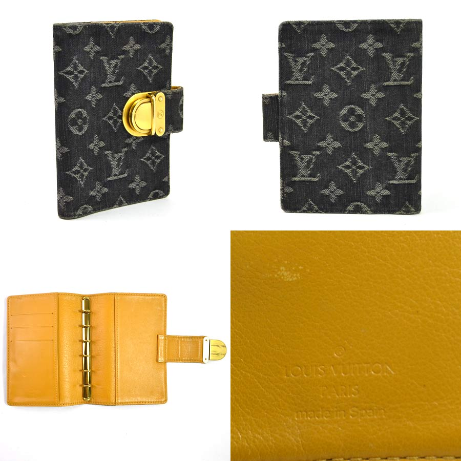 Auth Louis Vuitton Monogram Denim Koala Agenda PM Agenda Cover R21038 - y13976 2