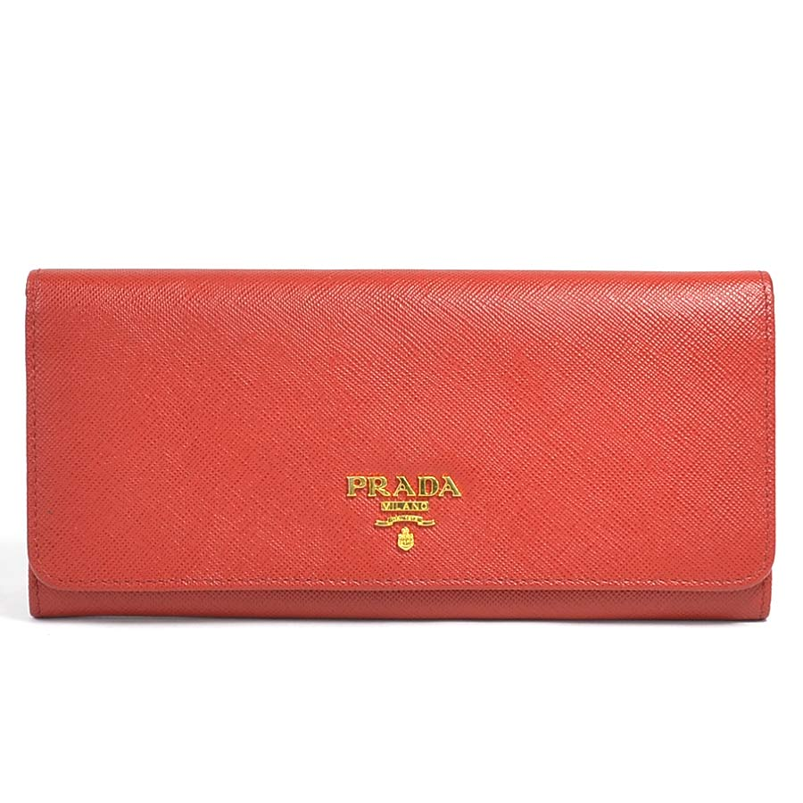 Auth PRADA Logo Bifold Long Wallet Red Leather/Goldtone - y14392d